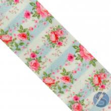 Fita de Gorgurão Flores Rosas Fundo Verde Claro - 38mm