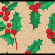 Tecido Tricoline Bege Folhas Natal
