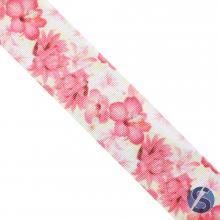Fita de Gorgurão Amarela Flores Rosa 38mm