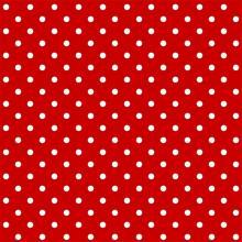Tecido Tricoline Vermelho Poa Médio Branco