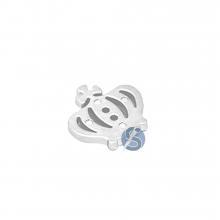 Botão Plástico Coroa Prata com furos 25 Unidades