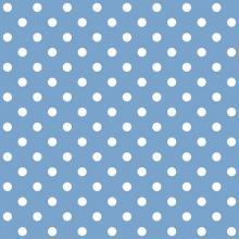 Tecido Tricoline Azul Bebê Poa Médio Branco