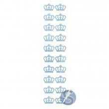 Cartela de Strass Adesivo Coroas Azul - 3cm