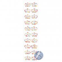 Cartela de Strass Adesivo Coroas Colorido - 3cm