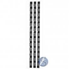 Cartela de Strass Adesivo Quadrados Preto - 1cm