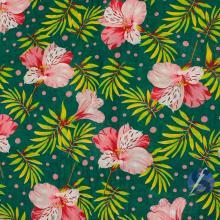 Chita Verde Folhagem Hibisco