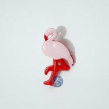Botão Plástico Flamingo Rosa com Vermelho 25 Unidades