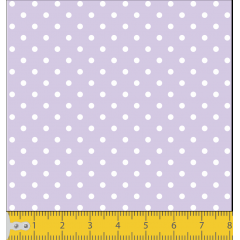 Tecido Tricoline Lilás Mini Poá  Branco