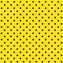 Tecido Tricoline Amarelo Poá Pequeno Preto
