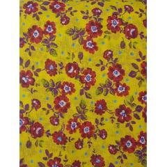 Tecido Chita Amarelo com Flores Vermelhas