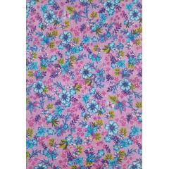 Tecido Chita Rosa Floral Azul