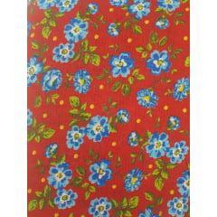 Tecido Chita Vermelho Flores Azuis