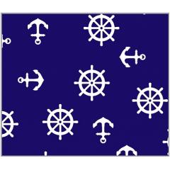 Tecido Tricoline Azul Marinho Desenho Naval
