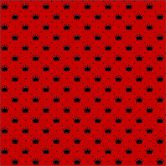 Tecido Tricoline Vermelho Poá  Coroas Preta