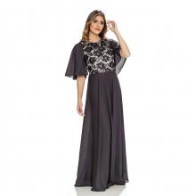 Vestido Longo Maria Amaral Preto renda Godê 218002