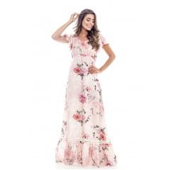 Vestido Longo Floral Rosa 065300