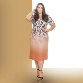 VESTIDO MIDI ANIMAL PRINT DEGRADÊ 2019008