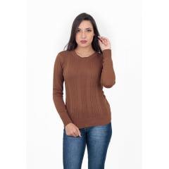 Blusa Decote Redondo Canelada - REF. 398