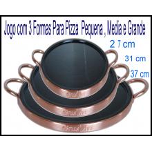 Jogo Com 3 Formas Para Pizza De Pedra Sabão P M G 27 31 37 Cm