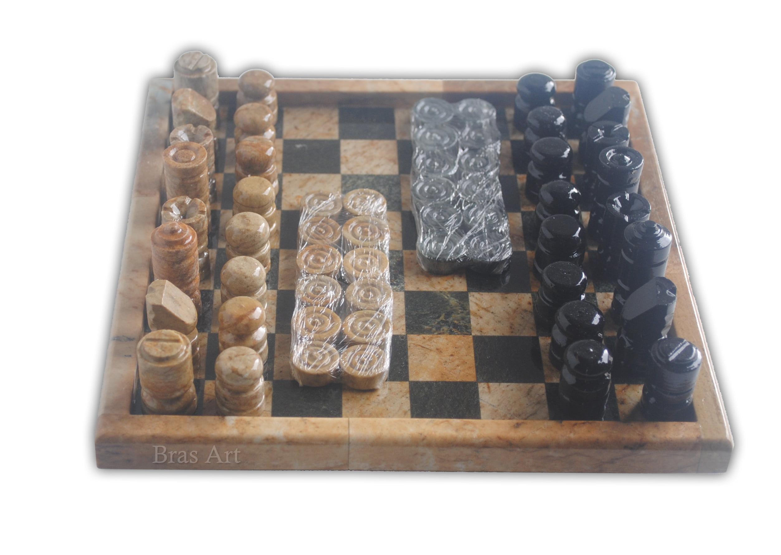 Xadrez jogo 2 em 1 Em pedra sabão lindíssimo xadrez e dama