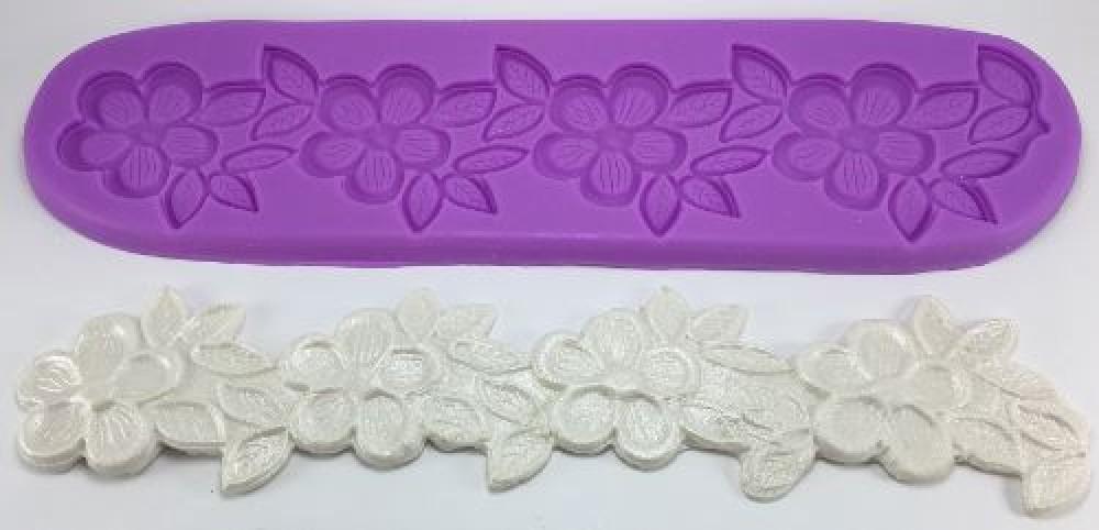 Molde de silicone para renda de açúcar - Barrado em Flor