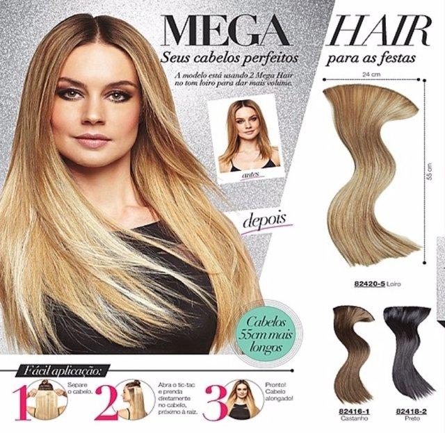Mega Hair 55 cm Loiro, Castanho ou Preto  [Avon Moda & Casa]