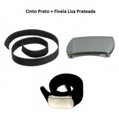 Cinto Preto + Fivela Lisa Prateada
