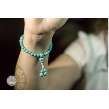 Japamala Pulseira Bracelete Budista Céu Turquesa 27 contas