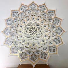 O Coração é a Porta + VIDA NOVA 60X60 cm Branca e Dourada