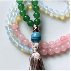 Japamala 108 contas em Quartzo Rosa, Verde e Cristal Originais com Detalhe Buda - Relacionamento, Saúde e Sabedoria