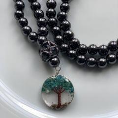 Japamala Unissex em Hematita Original e Pingente Árvore da Vida - 108 Contas - Força, Proteção Pessoal, Vida longa e Saúde