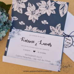 Convite Floral Marinho