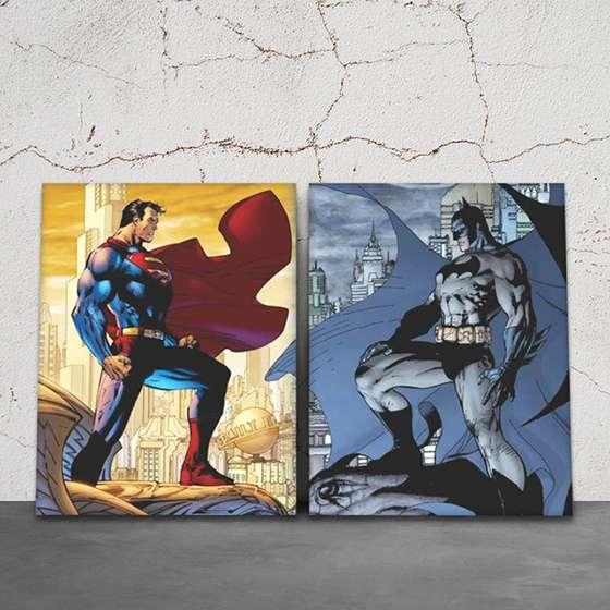 Quadro Batman VS Super Homem DC 2 peças