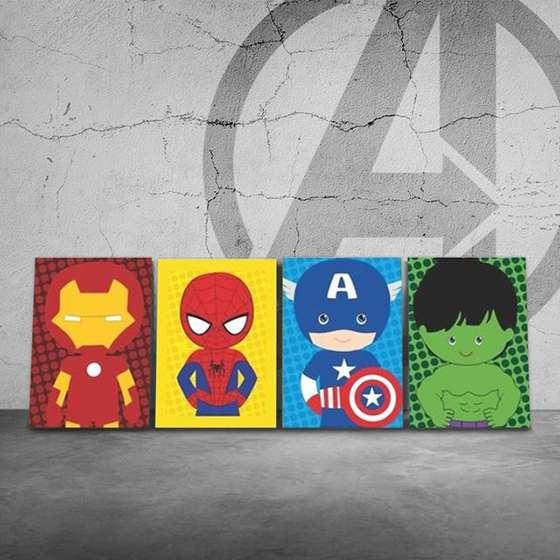 Quadro Super Heróis Marvel Baby Homem de Ferro Homem Aranha Capitao Hulk