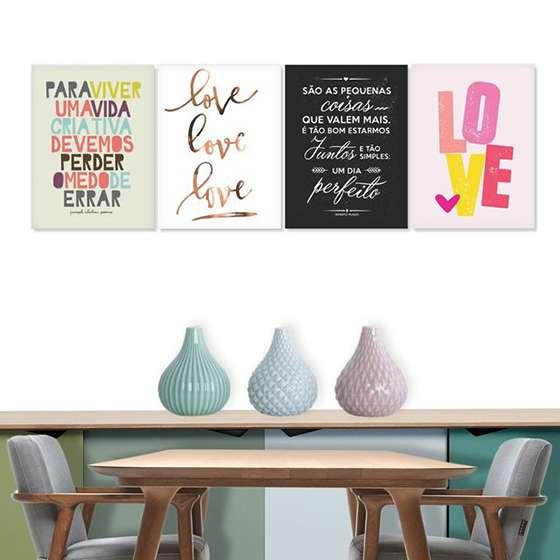 Quadro Decorativo Love Amor kit 4 unidades