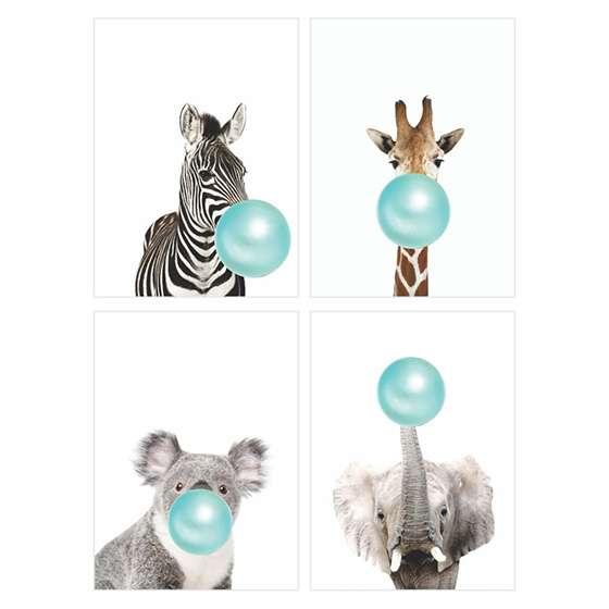 Quadros chiclete azul girafa zebra
