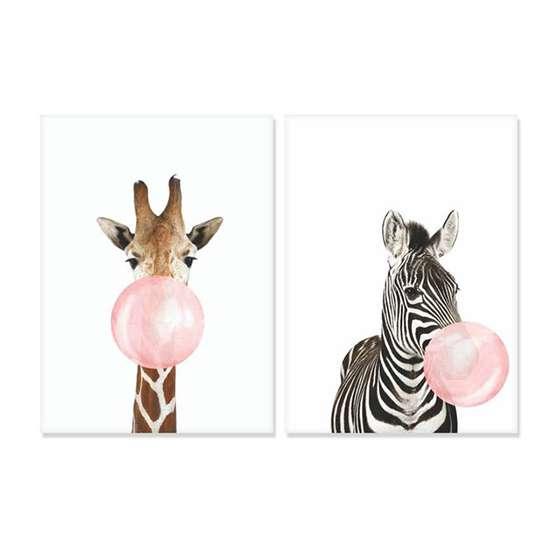 Quadros Girafa Zebra Mascando Chiclete Bubble Gum Kit 2 Peças