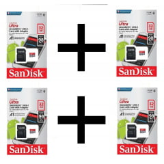 Kit 4 X Cartão Micro Sd Sandisk Ultra 32gb 98mb/s Lacrado