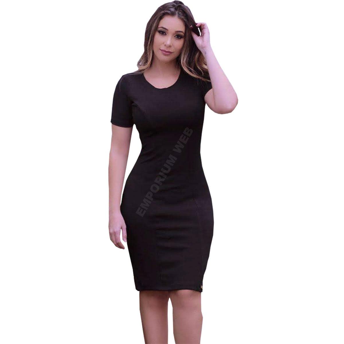 vestido midi tubinho com manga curta preto