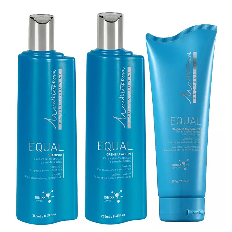 Kit Mediterrani Equal - Shampoo + Condicionador + Leave-in - Mediterrani  - 250ml