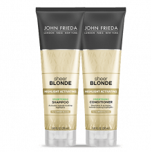 KIT SHAMPOO E CONDICIONADOR SHEER BLONDE  HIGHLIGHT ACTIVATING BRIGHTENING PARA LOIRO ESCURO - JOHN FRIEDA