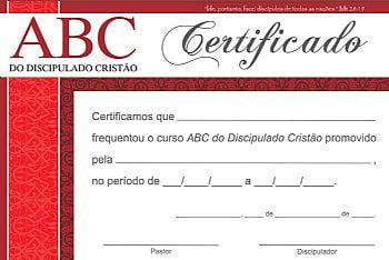 Certificado de Conclusão ABC do Discipulado Cristão c/ 10 unid.