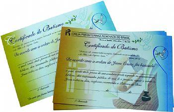 Certificado de Batismo C/ 20 unids