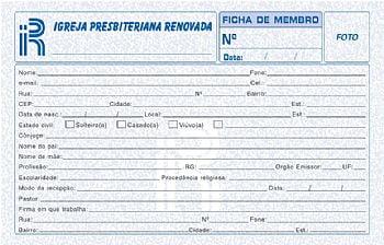 Ficha de membro com timbre da IPRB c/ 50 unids
