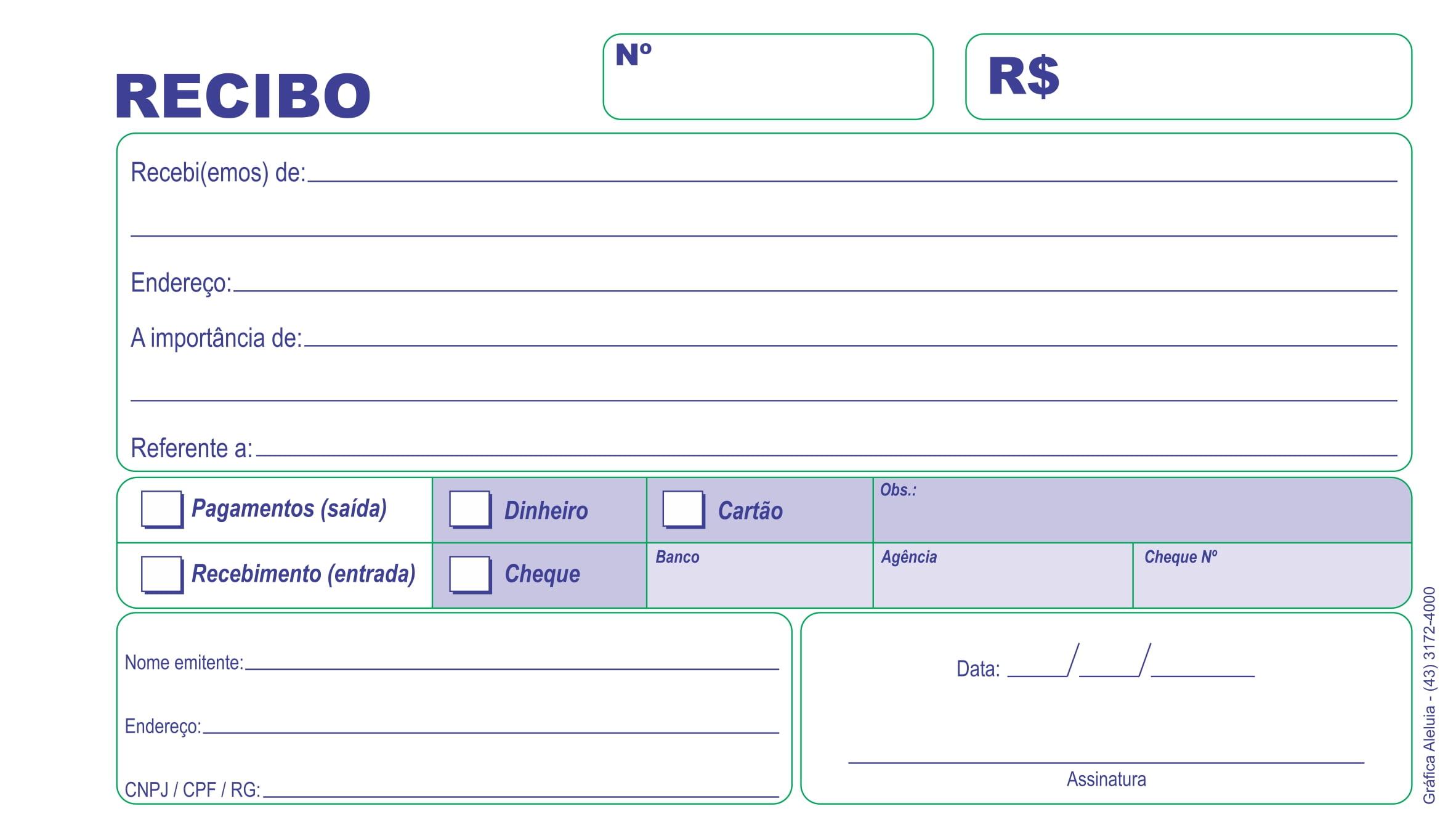 TALÃO DE RECIBO EXTRA COPY 11X21 CM - INTERDENOMINACIONAL