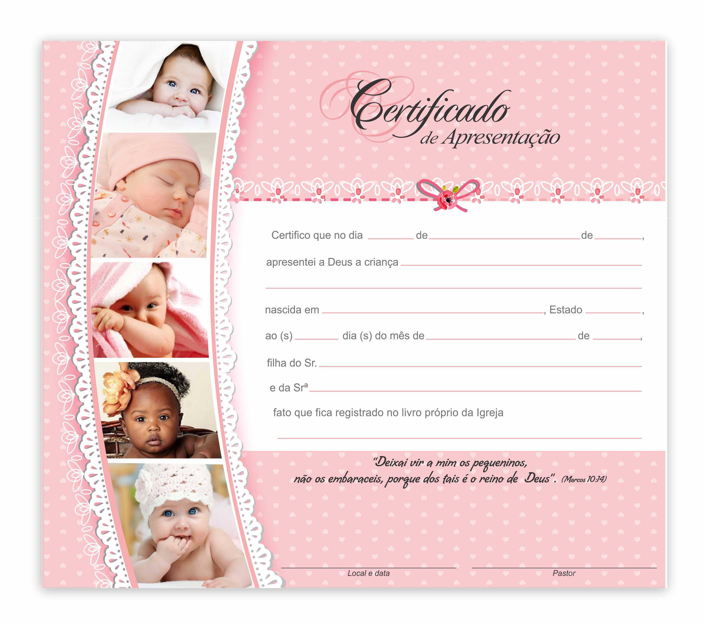 Certificado de apresentação de crianças