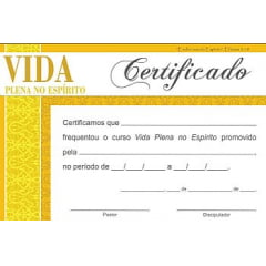 Certificado de Conclusão VIDA PLENA NO ESPÍRITO - Integ II