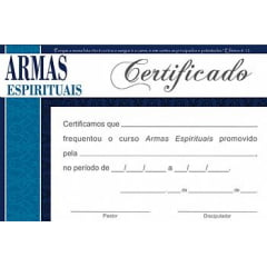 Certificado de Conclusão Armas Espirituais c/ 10 unids