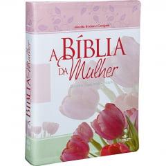 BÍBLIA DA MULHER - CAPA COURO BONDED IMPRESSO/ROSA - 01041