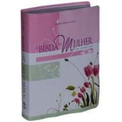 BÍBLIA DA MULHER-CAPA COURO BONDED IMPRESSO/ROSA 01814